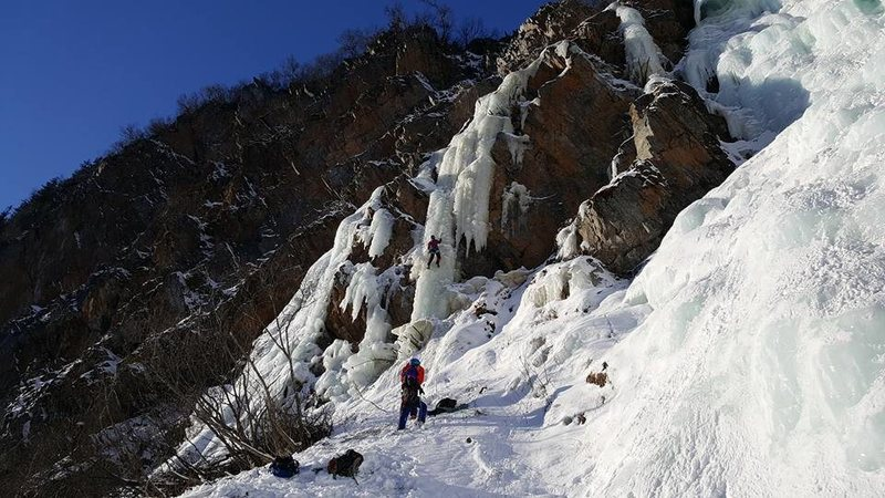 Climbers playing on flows to the lookers left of Horsetail Falls in 2017.  Photo Jenny McCord