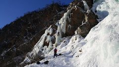 Rock Climbing Photo: Climbers playing on flows to the lookers left of H...