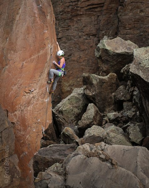 Rock Climbing Photo: Allison Fritz mid-crux of Dopesmoker.