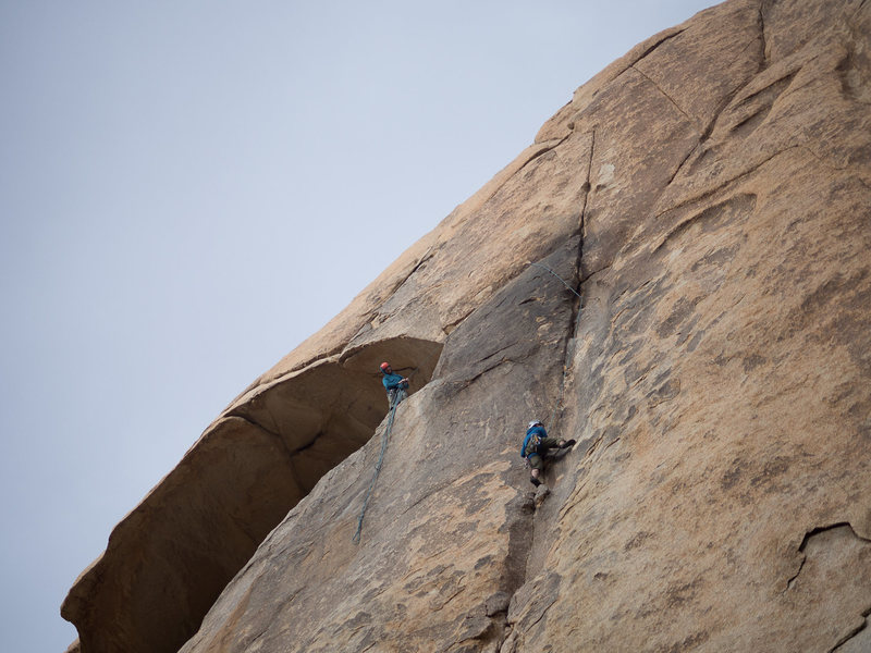 End of pitch 1. Me at anchors, Joo following, photo by Spencer.