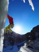 Rock Climbing Photo: Tim Stephens pulling out of the first pitch ice ca...