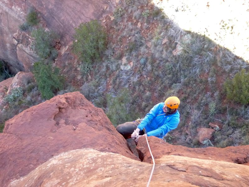 Rock Climbing Photo: Bean laybacking the flake above the crux roof on t...