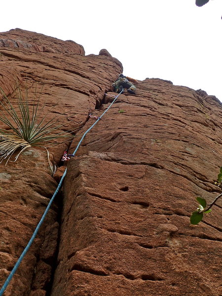 Rock Climbing Photo: AMH on the crack start. Note the bolts off to the ...