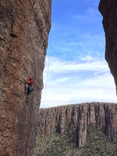 Rock Climbing Photo: Steve on a beautiful ascent! (My ropes dangling in...