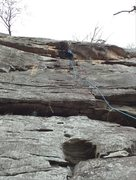 Rock Climbing Photo: Pulling the roof section. Scared, but good holds +...