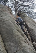 """Rock Climbing Photo: Mike on """"Has Been"""" 3."""