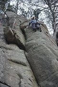 "Rock Climbing Photo: Mike high on ""Has Been""."