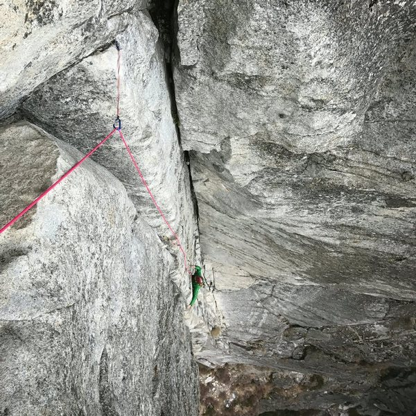 Me (Sadie) following up Corrugation corner, view of my cold death grip on the second pitch.