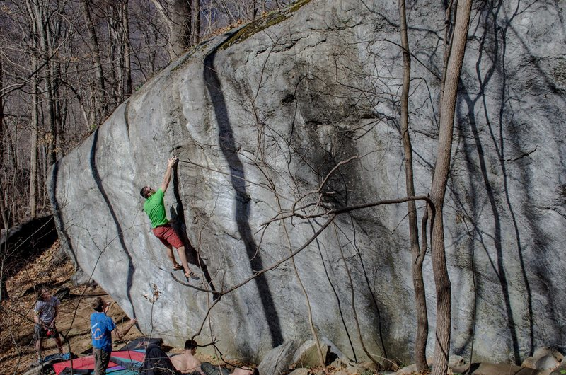 Rock Climbing Photo: Trying to stick the sidepull. Photo: Nic
