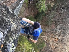 Rock Climbing Photo: Rappelling down from Top Rope Setup. Has small led...