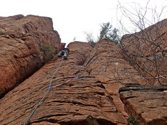 Rock Climbing Photo: AMH heading up. Note supplemental 1st piece of gea...
