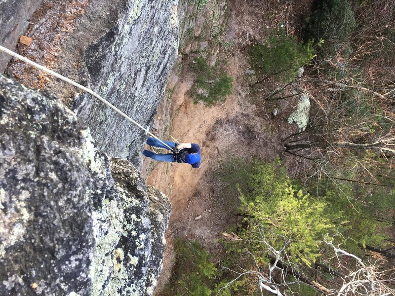 Rappelling down for Solo TR runs. Great place to practice multiple pitches if you&@POUND@39@SEMICOLON@re climbing alone.