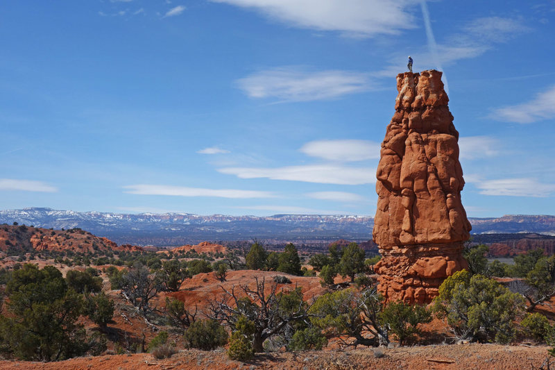 Rock Climbing Photo: Roy on the summit with Bryce Canyon far in the dis...