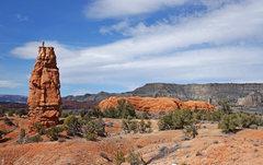 Rock Climbing Photo: Roy on top with Kodachrome Basin behind.