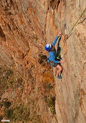 Rock Climbing Photo: Susan at the 2nd pitch crux   Midas Touch(5.10c/d)...