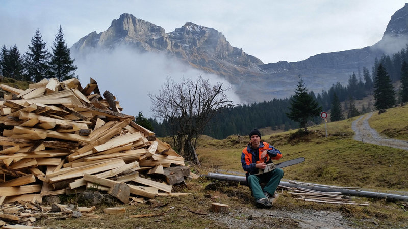 My work as a forester (lumberjack) - working on the mountains up at Oberalp.