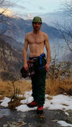 Rock Climbing Photo: After climbing - snow covered mountains in the bac...