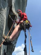 Rock Climbing Photo: Barrett P taking off on ZZ pitch 2