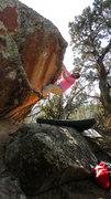 Rock Climbing Photo: Working up the lip of Yotes Below.