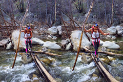 Rock Climbing Photo: Crossing the high flowing creek without getting fe...