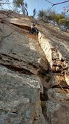 Rock Climbing Photo: Thin 5.9 finger crack to the crux, where I am plac...
