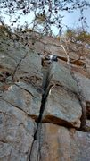 Rock Climbing Photo: The chimney start of Razor worm. You can do a dire...