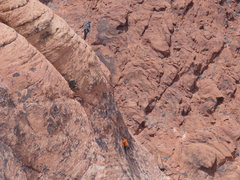 Rock Climbing Photo: The headwall on pitch 3.  What a beautiful positio...