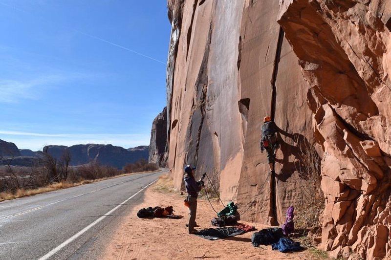 climbing at wallstreet in winter