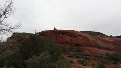 Rock Climbing Photo: From the parking lot. Here is Spencer walking up f...