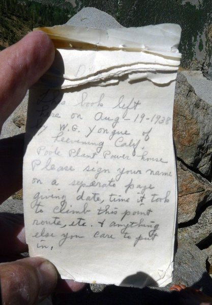 Rock Climbing Photo: Handwritten page in Sphinx summit register. Photo:...