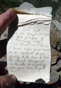 Rock Climbing Photo: Handwritten page in Sphinx summit register. Photo:...