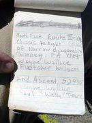 Rock Climbing Photo: Page 5 of Sphinx summit register. Photo: Ed Hartou...