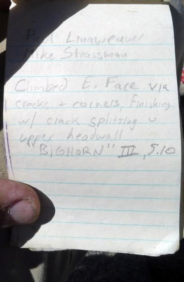 Rock Climbing Photo: Page 9 Sphinx summit register. Photo: Ed Hartouni
