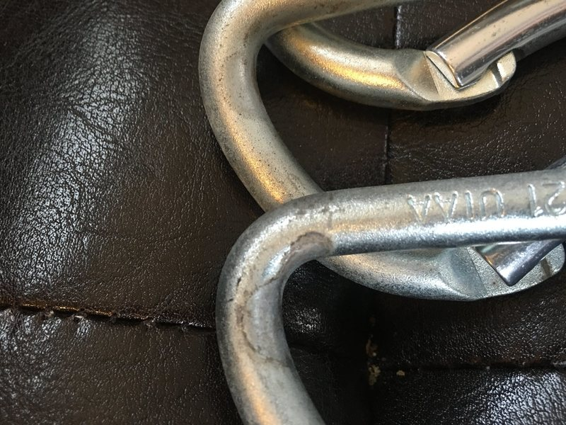 Most worn of the carabiners