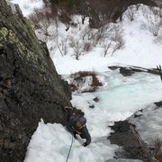 Rock Climbing Photo: Following up the WI4 pitch.  Ice was thin but the ...