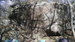 Rock Climbing Photo: The overhang section of the Rhino Boulder.