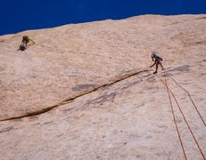 Rock Climbing Photo: Working the 5.10d slab traverse - 2nd pitch