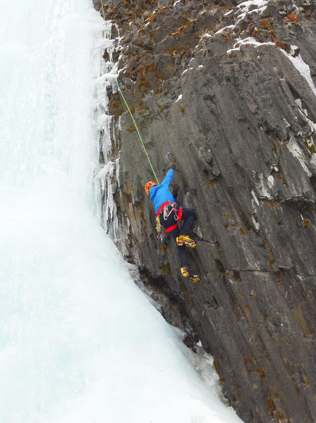 Rock Climbing Photo: Bud Martin on the mixed variation, right side of F...