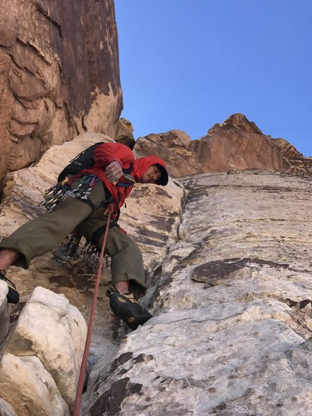At the start of Pitch 5, pretty damn thin and tricky to get to that first bolt!