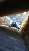 Rock Climbing Photo: ubiquitous photo heading under the giant chock sto...