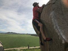 Rock Climbing Photo: The mantel... don't fall!