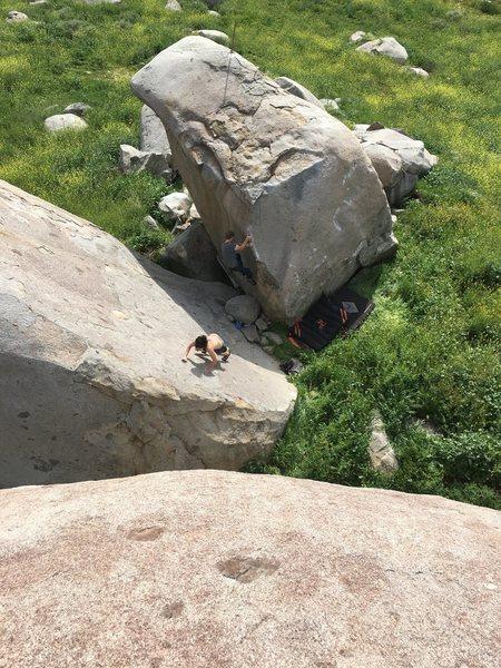 Rock Climbing Photo: Skyler sending from above!