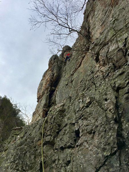 The first pitch of Skyline Traverse