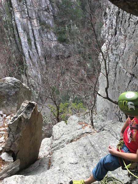 Rock Climbing Photo: View from the second belay ledge