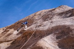 Rock Climbing Photo: Finding his way up RAF after making the second cli...