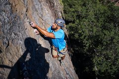 Rock Climbing Photo: Setting a draw along the route.