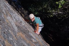 Rock Climbing Photo: Placing a draw along the route.