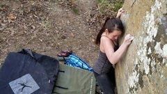 Rock Climbing Photo: Working through the bottom crimps.