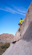Rock Climbing Photo: Placing only two pieces of pro (one cam (#2) towar...