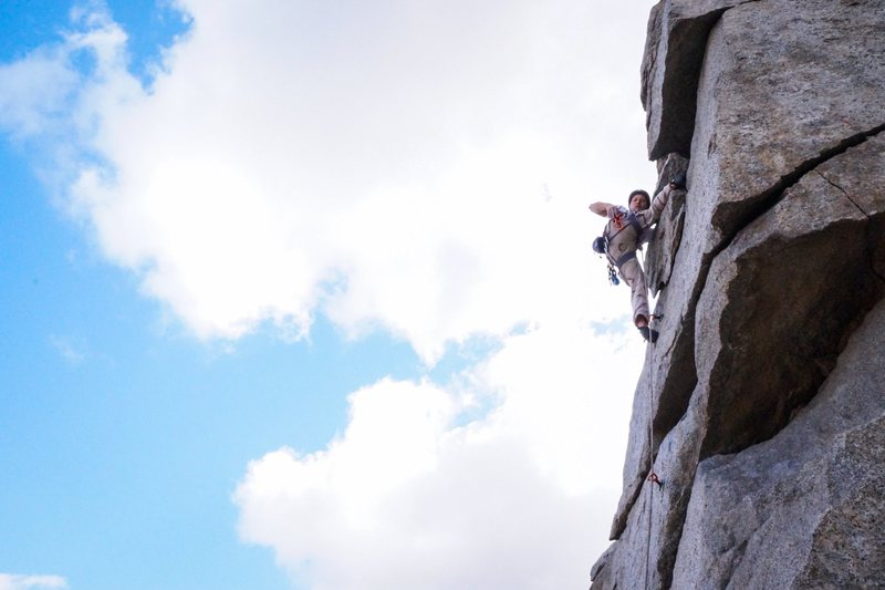 Rock Climbing Photo: Grabbing a draw for the bolt on Vicitm of Gravity.